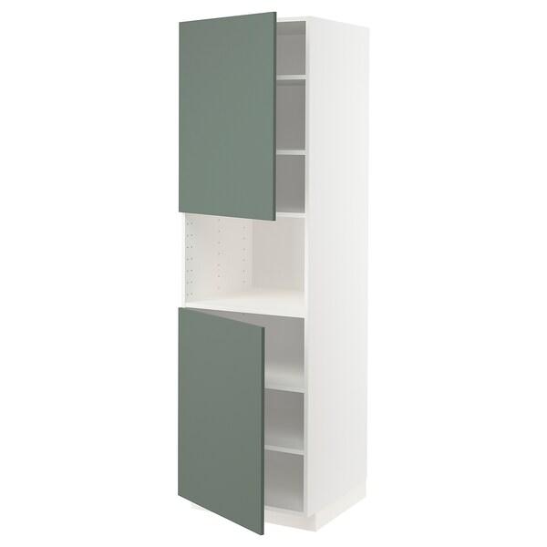METOD High cab f micro w 2 doors/shelves, white/Bodarp grey-green, 60x60x200 cm