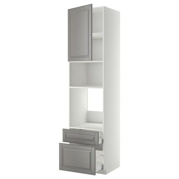 METOD High cab f oven/micro w dr/2 drwrs, white Maximera/Bodbyn grey, 60x60x240 cm