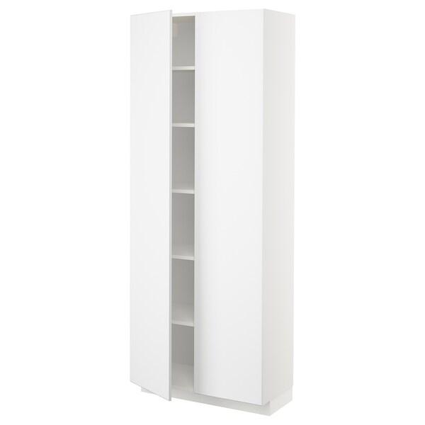 METOD High cabinet with shelves, white/Kungsbacka matt white, 80x37x200 cm