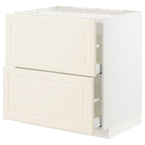 METOD / MAXIMERA Base cab f hob/2 fronts/2 drawers, white/Bodbyn off-white, 80x60x80 cm