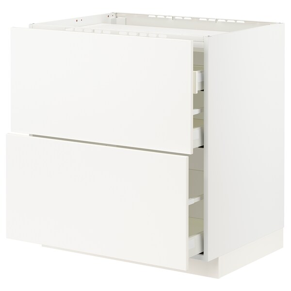 METOD / MAXIMERA Base cab f hob/2 fronts/3 drawers, white/Veddinge white, 80x60x80 cm