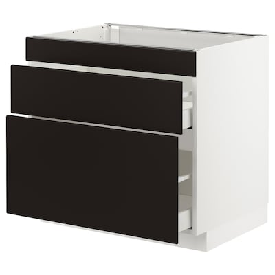 METOD / MAXIMERA base cab f hob/3 fronts/2 drawers white/Kungsbacka anthracite 80 cm 60 cm 61.6 cm 70 cm