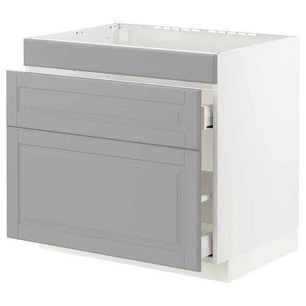 METOD / MAXIMERA Base cab f sink+3 fronts/2 drawers, white/Bodbyn grey, 80x60x70 cm