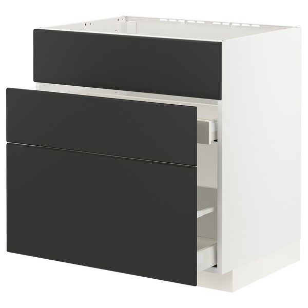 METOD / MAXIMERA Base cab f sink+3 fronts/2 drawers, white/Kungsbacka anthracite, 80x60x80 cm