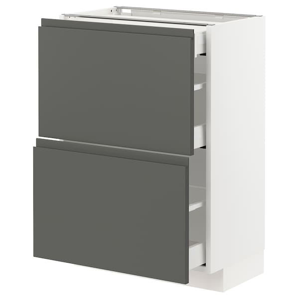 METOD / MAXIMERA Base cab with 2 fronts/3 drawers, white/Voxtorp dark grey, 60x37x80 cm