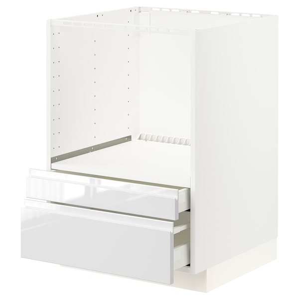 METOD / MAXIMERA Base cabinet f combi micro/drawers, white/Voxtorp high-gloss/white, 60x60x80 cm