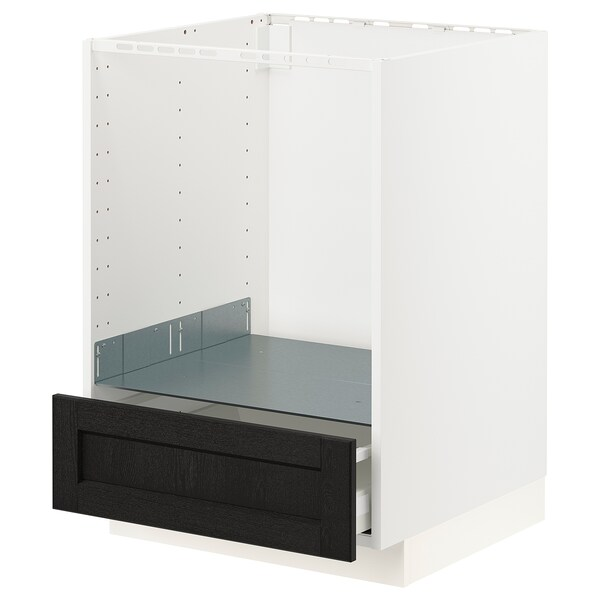 METOD / MAXIMERA Base cabinet for oven with drawer, white/Lerhyttan black stained, 60x60x80 cm