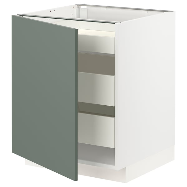 METOD / MAXIMERA Base cabinet with 1 door/3 drawers, white/Bodarp grey-green, 60x60x70 cm