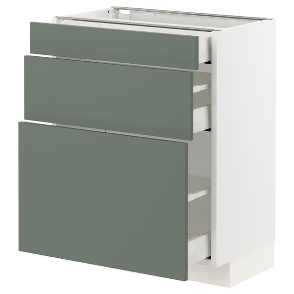 METOD / MAXIMERA Base cabinet with 3 drawers, white/Bodarp grey-green, 60x37x70 cm