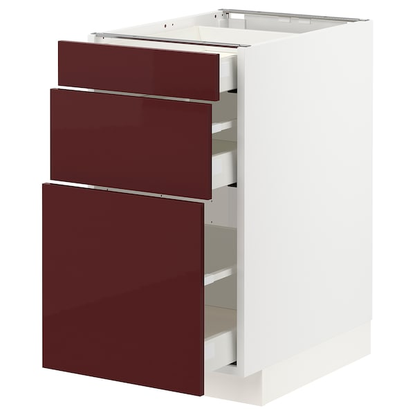 METOD / MAXIMERA Base cabinet with 3 drawers, white Kallarp/high-gloss dark red-brown, 40x60x70 cm