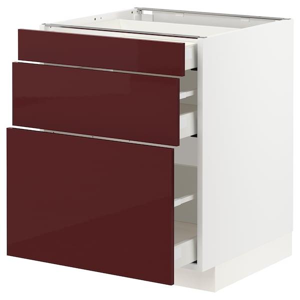 METOD / MAXIMERA Base cabinet with 3 drawers, white Kallarp/high-gloss dark red-brown, 60x60x70 cm