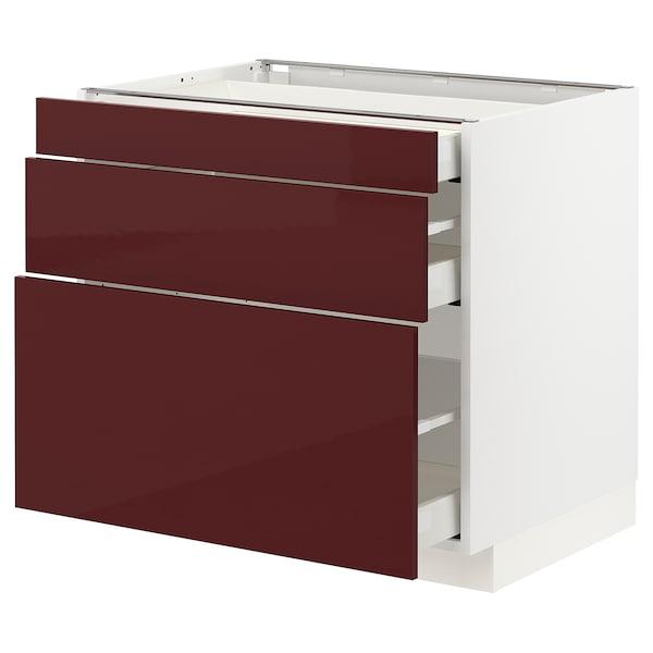 METOD / MAXIMERA Base cabinet with 3 drawers, white Kallarp/high-gloss dark red-brown, 80x60x70 cm