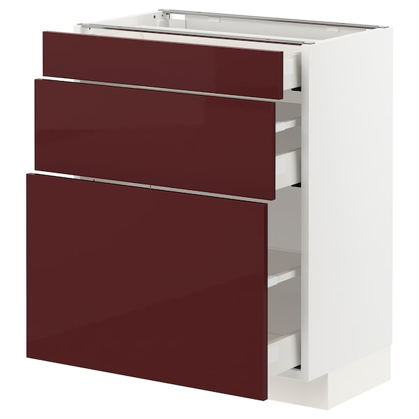 METOD / MAXIMERA Base cabinet with 3 drawers, white Kallarp/high-gloss dark red-brown, 60x37x70 cm