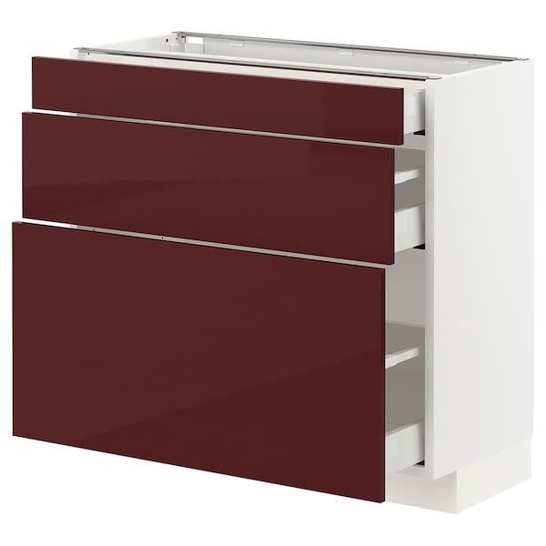 METOD / MAXIMERA Base cabinet with 3 drawers, white Kallarp/high-gloss dark red-brown, 80x37x70 cm