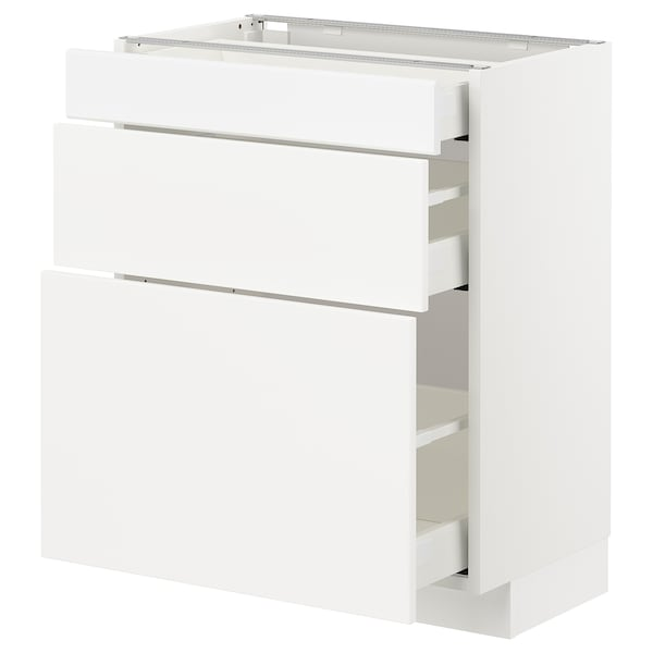 METOD / MAXIMERA Base cabinet with 3 drawers, white/Kungsbacka matt white, 60x37x70 cm