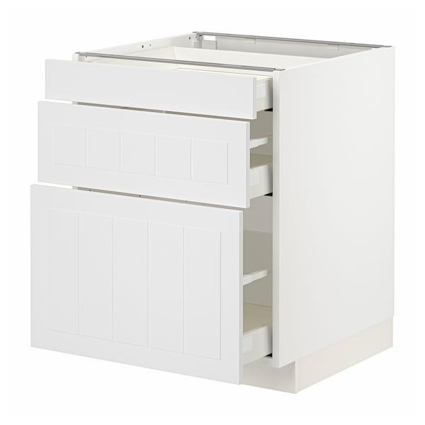 METOD / MAXIMERA Base cabinet with 3 drawers, white/Stensund white, 60x60x70 cm
