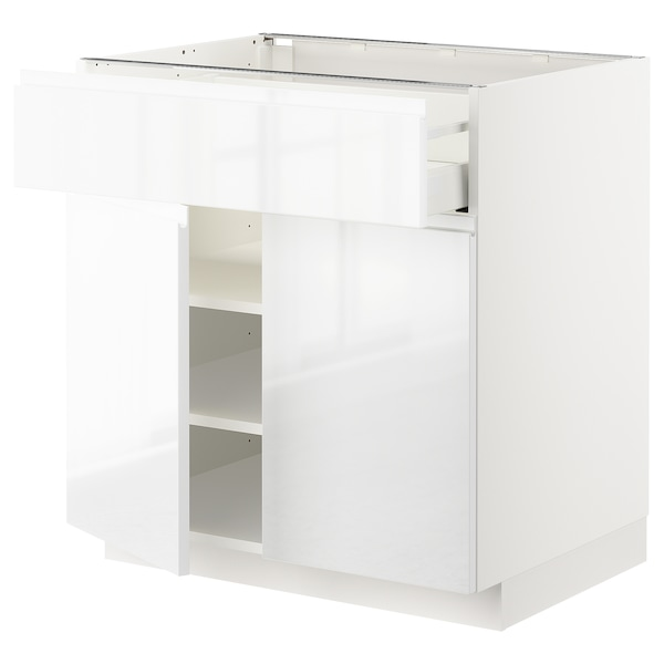 METOD / MAXIMERA Base cabinet with drawer/2 doors, white/Voxtorp high-gloss/white, 80x60x80 cm