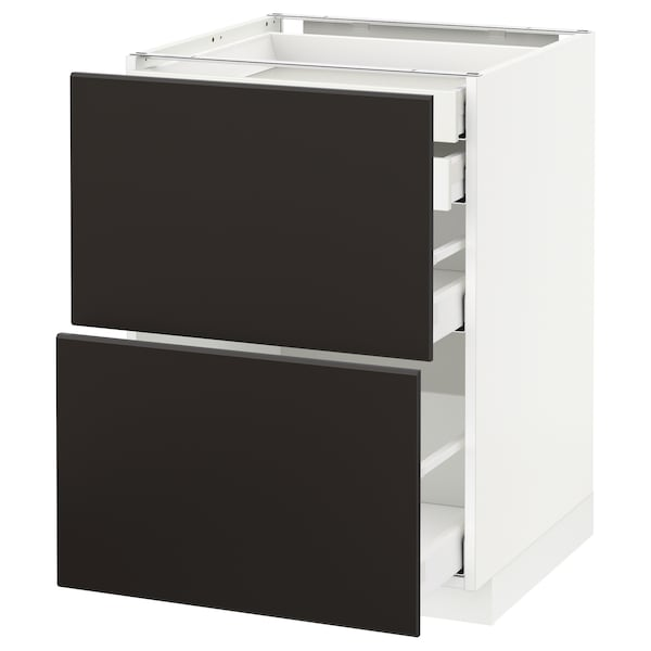 METOD / MAXIMERA Base cb 2 frnts/2 low/1 md/1 hi drw, white/Kungsbacka anthracite, 60x60x80 cm
