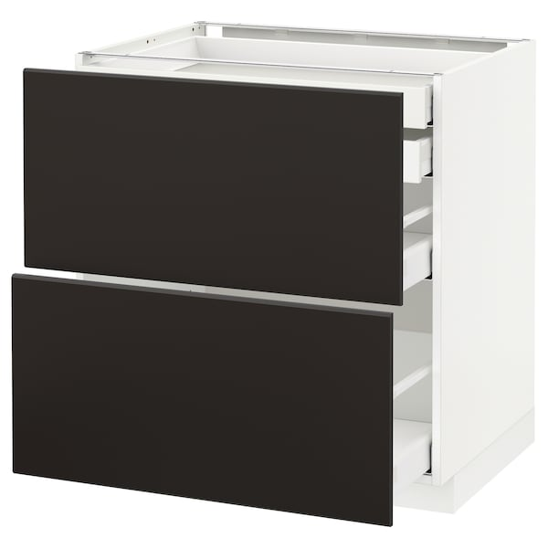 METOD / MAXIMERA Base cb 2 frnts/2 low/1 md/1 hi drw, white/Kungsbacka anthracite, 80x60x80 cm
