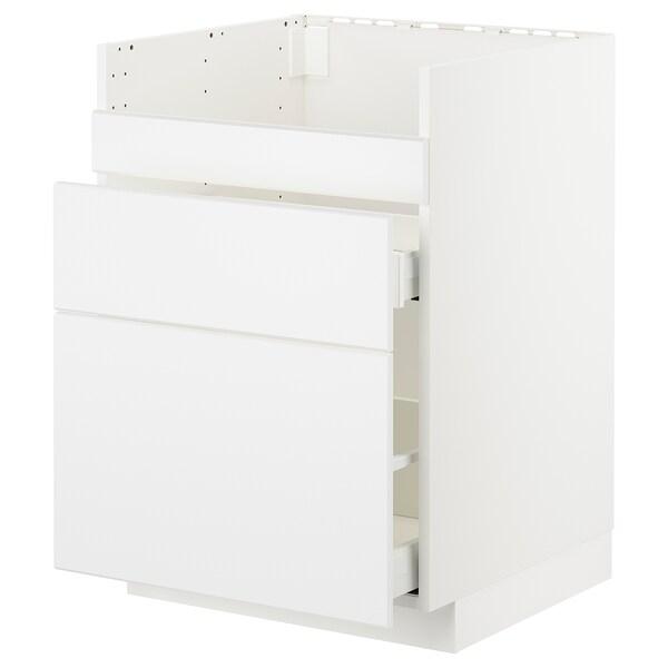 METOD / MAXIMERA Base cb f HAVSEN snk/3 frnts/2 drws, white/Kungsbacka matt white, 60x60x80 cm