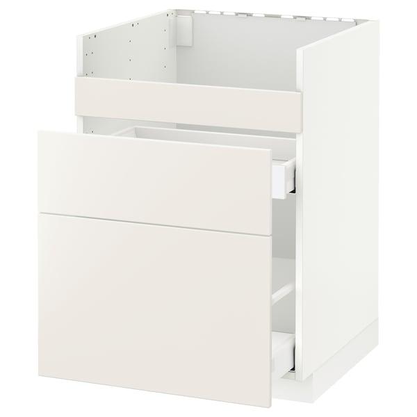 METOD / MAXIMERA Base cb f HAVSEN snk/3 frnts/2 drws, white/Veddinge white, 60x60x80 cm