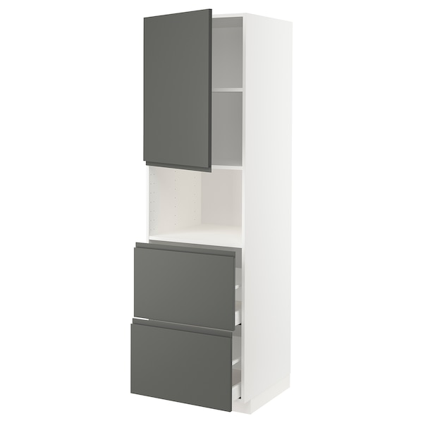 METOD / MAXIMERA Hi cab f micro w door/2 drawers, white/Voxtorp dark grey, 60x60x200 cm