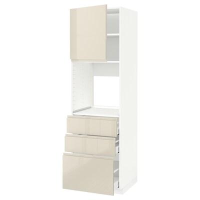 METOD / MAXIMERA High cab f oven w door/3 drawers, white Maximera/Voxtorp high-gloss light beige, 60x60x200 cm