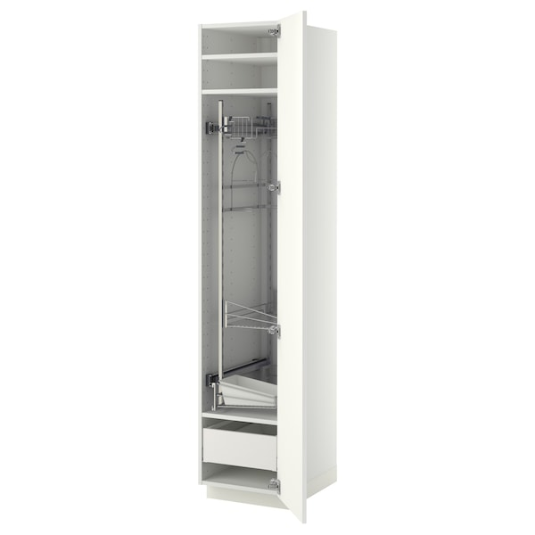 METOD / MAXIMERA High cabinet with cleaning interior, white/Ringhult white, 40x60x200 cm