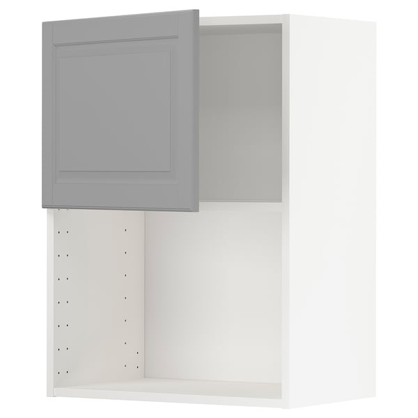 METOD Wall cabinet for microwave oven, white/Bodbyn grey, 60x37x80 cm