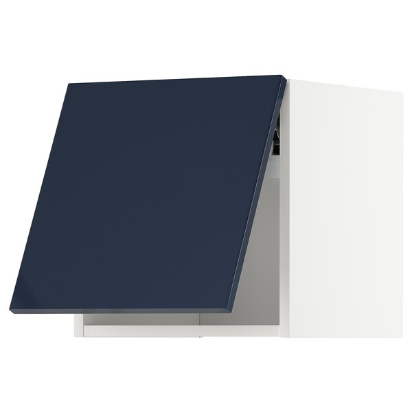 METOD Wall cabinet horizontal w push-open, white/Järsta black-blue, 40x40 cm