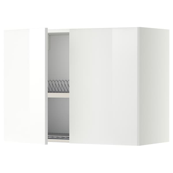 METOD Wall cabinet w dish drainer/2 doors, white/Ringhult white, 80x37x60 cm