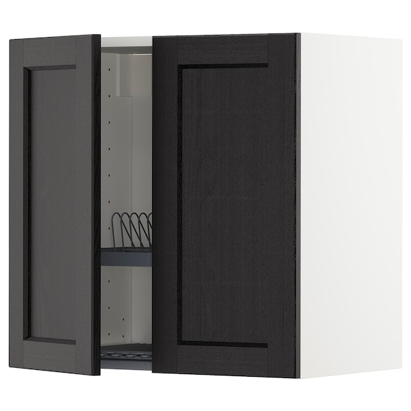 METOD wall cabinet w dish drainer/2 doors white/Lerhyttan black stained 60.0 cm 37 cm 38.6 cm 60.0 cm