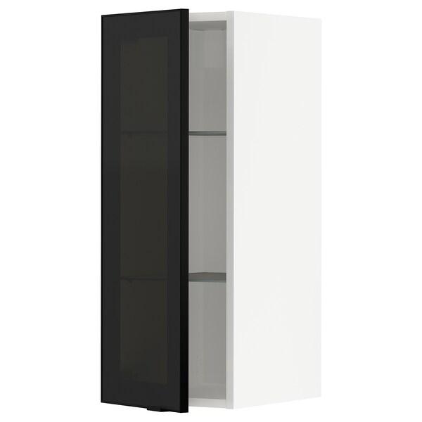METOD Wall cabinet w shelves/glass door, white/Jutis smoked glass, 30x37x80 cm