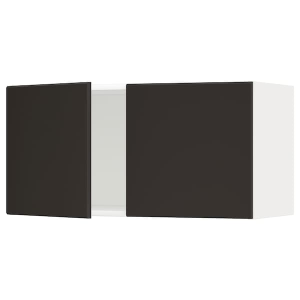 METOD Wall cabinet with 2 doors, white/Kungsbacka anthracite, 80x37x40 cm