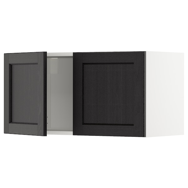 METOD Wall cabinet with 2 doors, white/Lerhyttan black stained, 80x37x40 cm