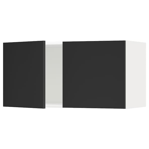 METOD Wall cabinet with 2 doors, white/Uddevalla anthracite, 80x37x40 cm