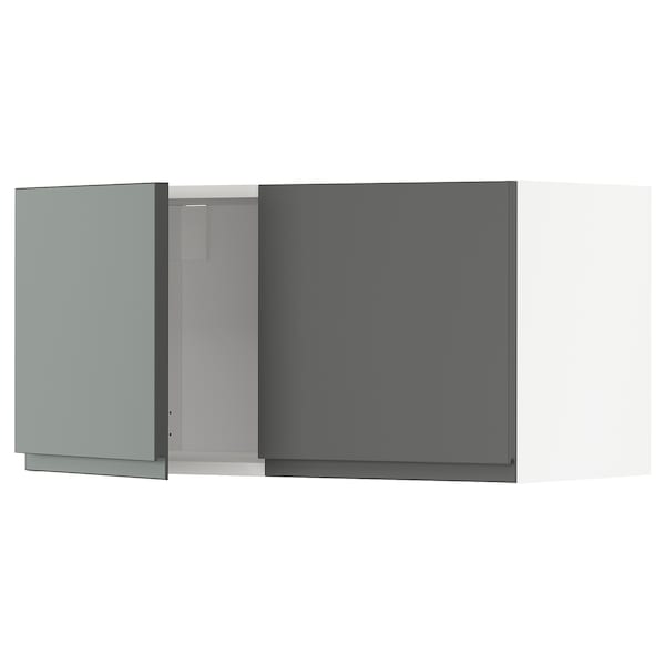 METOD Wall cabinet with 2 doors, white/Voxtorp dark grey, 80x37x40 cm