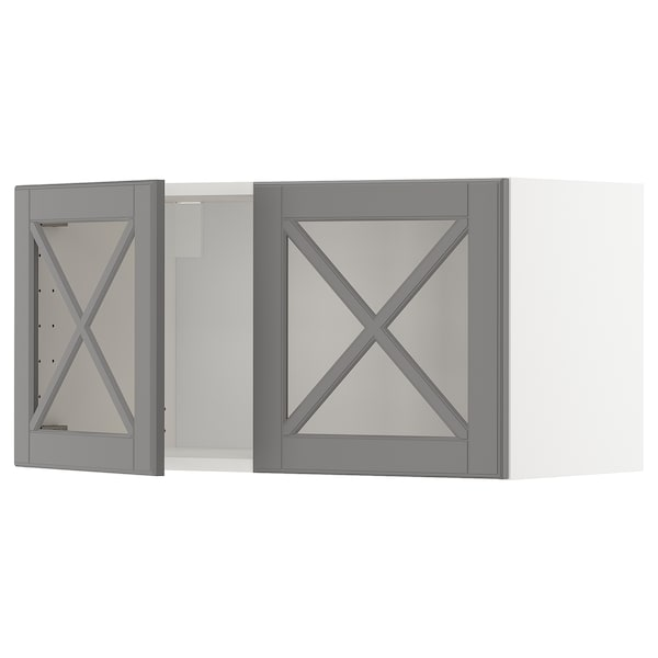 METOD Wall cabinet with 2 glass doors, white/Bodbyn grey, 80x37x40 cm
