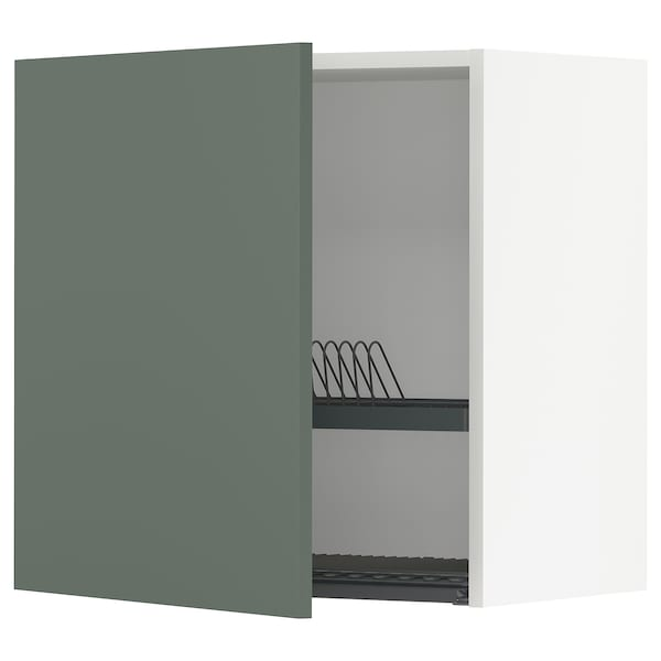 METOD Wall cabinet with dish drainer, white/Bodarp grey-green, 60x37x60 cm