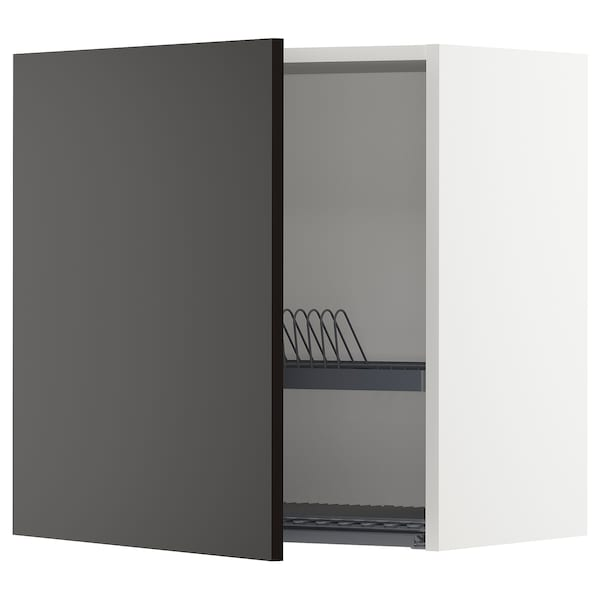 METOD Wall cabinet with dish drainer, white/Uddevalla anthracite, 60x37x60 cm