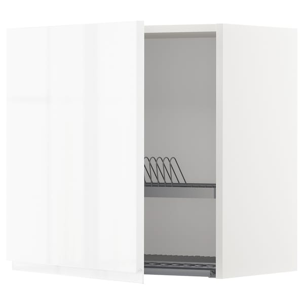 METOD Wall cabinet with dish drainer, white/Voxtorp high-gloss/white, 60x37x60 cm