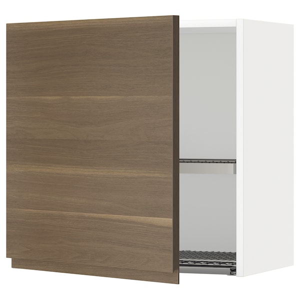 METOD Wall cabinet with dish drainer, white/Voxtorp walnut, 60x37x60 cm