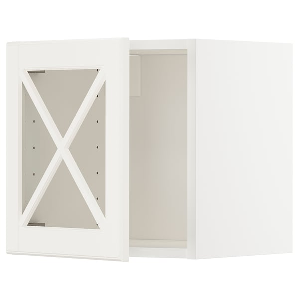 METOD Wall cabinet with glass door, white/Bodbyn off-white, 40x37x40 cm