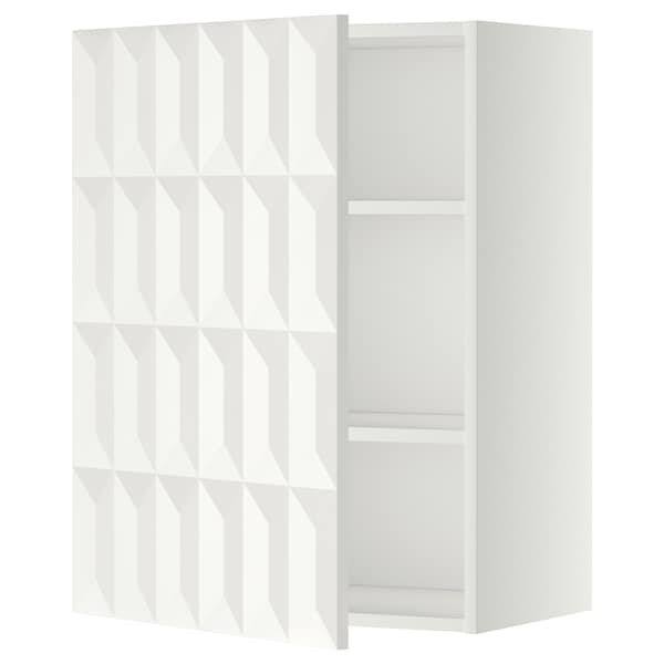 METOD wall cabinet with shelves white/Herrestad white 60.0 cm 37 cm 38.8 cm 80.0 cm