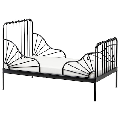 MINNEN Ext bed frame with slatted bed base, black, 80x200 cm