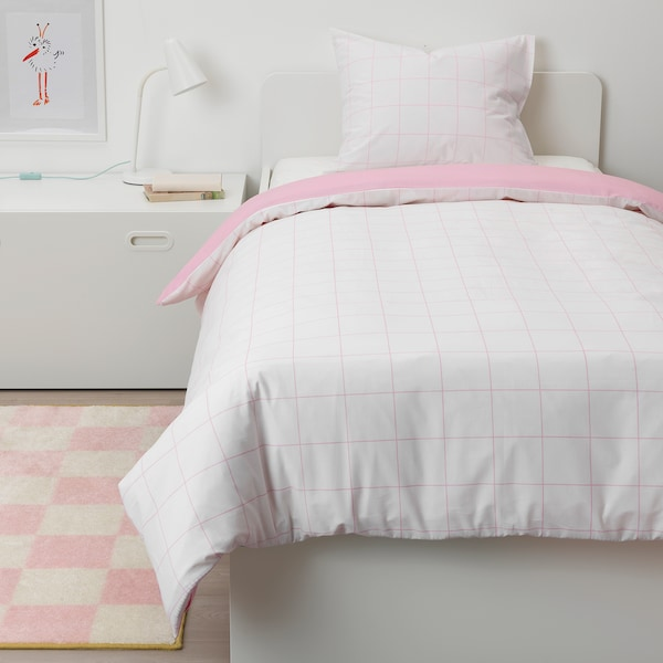 MÖJLIGHET quilt cover and pillowcase pink/graphical patterned 200 cm 150 cm 50 cm 80 cm