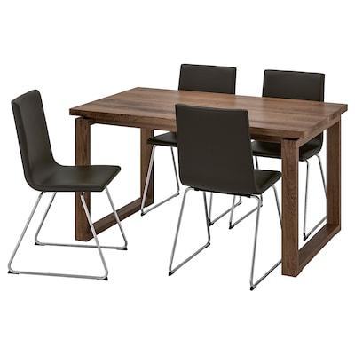 MÖRBYLÅNGA / VOLFGANG Table and 4 chairs, brown/Bomstad black, 140x85 cm