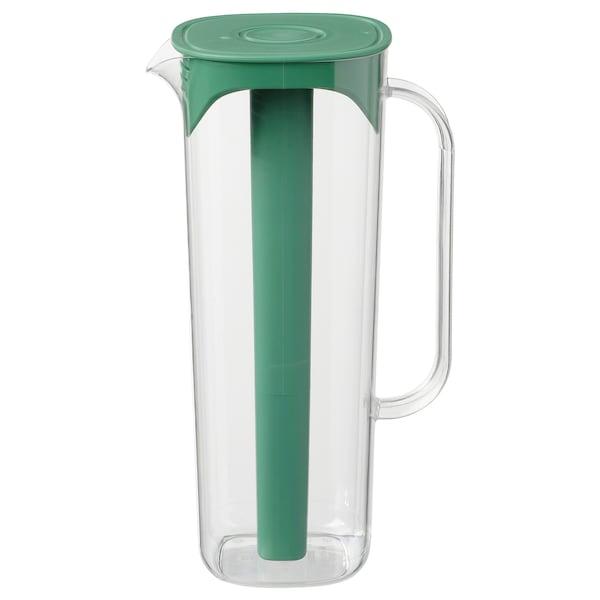 MOPPA jug with lid green/transparent 28 cm 1.7 l