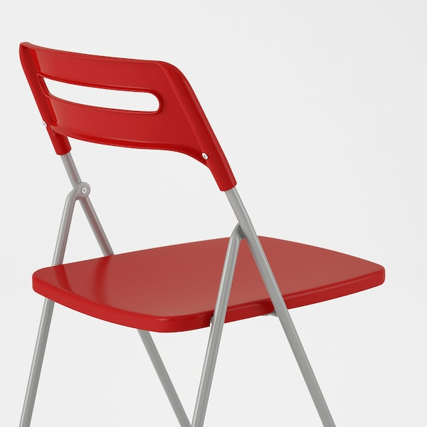 NISSE Folding chair, silver-colour/red