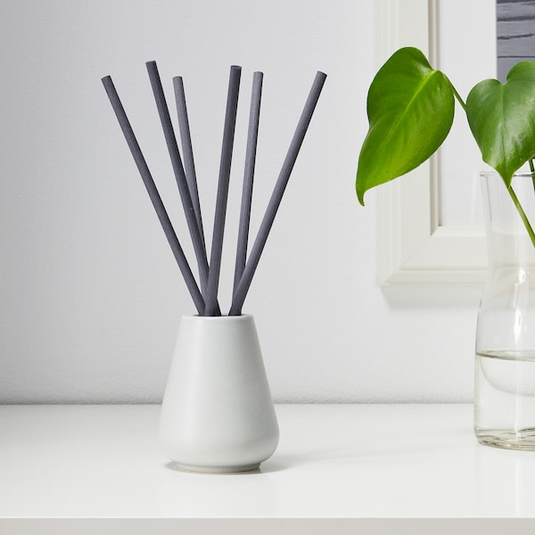 NJUTNING Vase and 6 scented sticks, Blossoming bergamot/grey